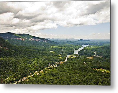 Mountains With Lake In The Valley Metal Print by Susan Leggett