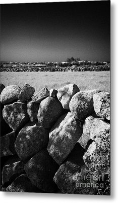 Mourne Granite Irish Dry Stone Wall Ireland Metal Print by Joe Fox