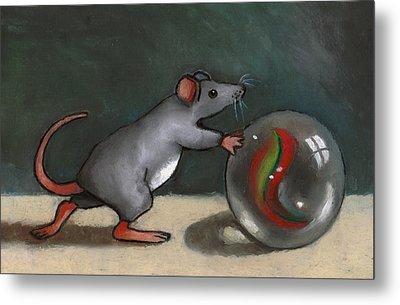 Mouse Rolling Marble Metal Print by Joyce Geleynse