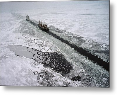 Multinational Fleet Of Icebreakers Metal Print by Cotton Coulson