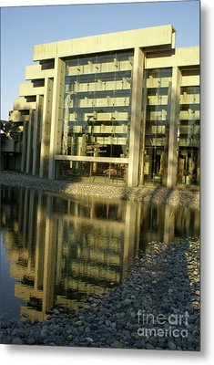 Museum Of Anthropology Reflection Vancouver Canada Metal Print by John  Mitchell