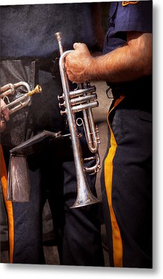 Music - Trumpet - Police Marching Band  Metal Print by Mike Savad