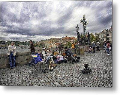 Musicians On The Charles Bridge - Prague Metal Print by Madeline Ellis