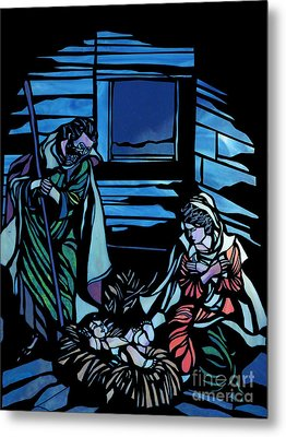 Nativity Stained Glass Metal Print by Methune Hively