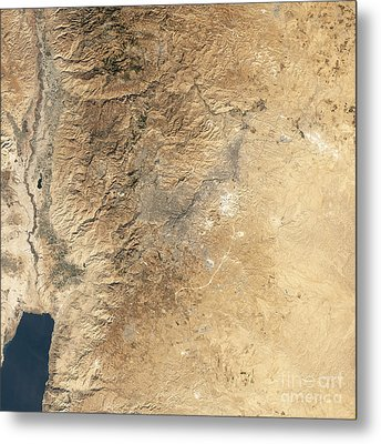 Natural-color Satellite View Of Amman Metal Print by Stocktrek Images