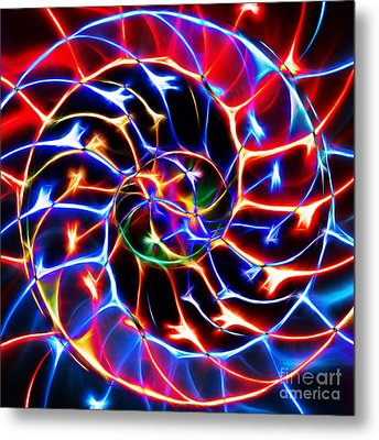 Nautilus Shell Ying And Yang - Electric - V2 - Blue Metal Print by Wingsdomain Art and Photography