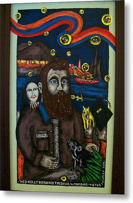 Ned Kelly Befriends The Devil Metal Print by Victor Maloney