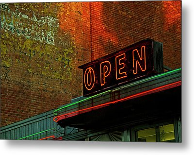 Neon Open Sign On Old Diner Hotel Metal Print by Matt Champlin