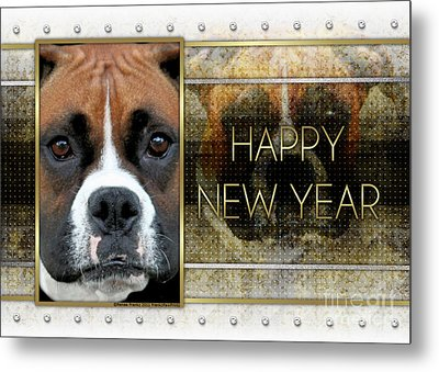 New Year - Golden Elegance Boxer Metal Print by Renae Laughner