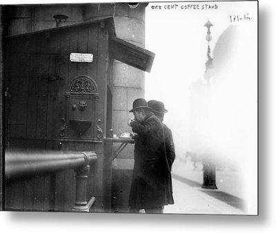 New York City, Man Drinking Coffee Metal Print by Everett