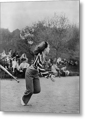 New York City, Woman Playing Softball Metal Print by Everett