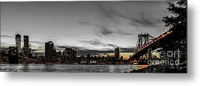 New Yorks Skyline At Night Colorkey Metal Print by Hannes Cmarits