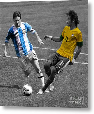 Neymar And Lionel Messi Clash Of The Titans Black And White Metal Print by Lee Dos Santos