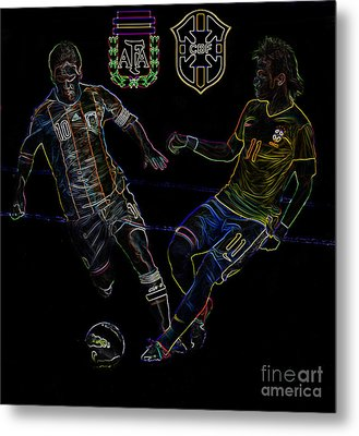 Neymar And Lionel Messi Clash Of The Titans Neon Metal Print by Lee Dos Santos