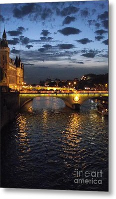 Night Fall Over The Seine Metal Print by Shawna Gibson