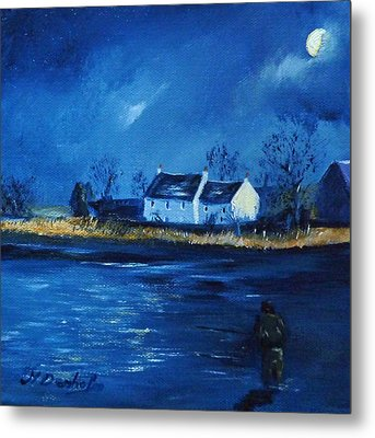 Night Fishing On The Forth Metal Print by Margaret Denholm