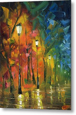 Night In The Park Metal Print by Ash Hussein