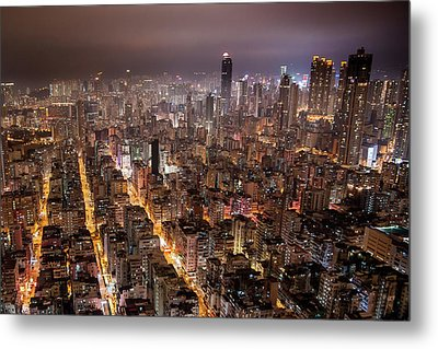 Night View Of Kowloon Metal Print by Ray Cheung