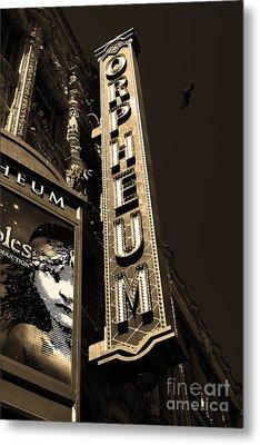 Nightfall At The Orpheum - San Francisco California - 5d17991 - Sepia Metal Print by Wingsdomain Art and Photography