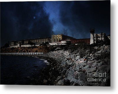 Nightfall Over Hard Time - San Quentin California State Prison - 5d18454 Metal Print by Wingsdomain Art and Photography