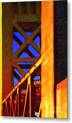 Nightfall Over Sacramento In Abstract . Vision 2 Metal Print by Wingsdomain Art and Photography