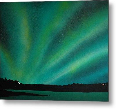 Northern Lights Cabin 3 Metal Print by DC Decker