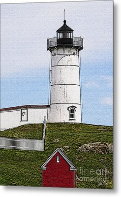 Nubble Lighthouse- Canvas Metal Print by Luke Moore