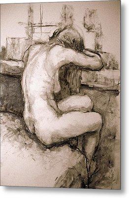 Nude On The Window Metal Print by Alfons Niex