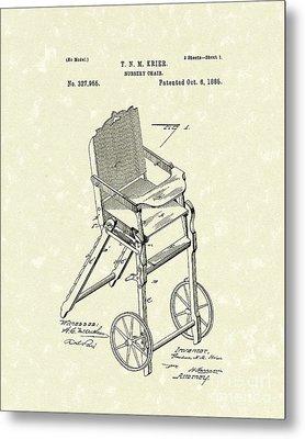 Nursery Chair 1885 Patent Art Metal Print by Prior Art Design