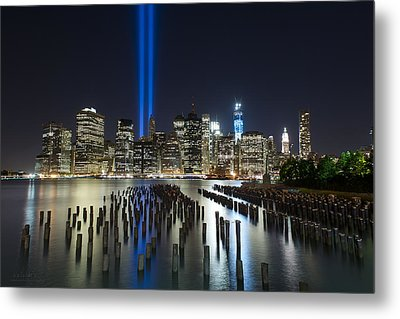Nyc - Tribute Lights - The Pilings Metal Print by Shane Psaltis