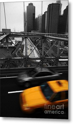 Nyc Yellow Cab Metal Print by Hannes Cmarits