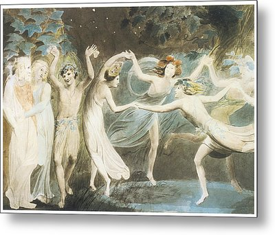 Oberon Titania And Puck With Fairies Dancing Metal Print by William Blake