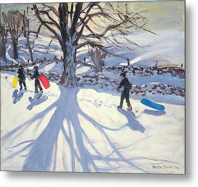 obogganers near Youlegrave Metal Print by Andrew Macara