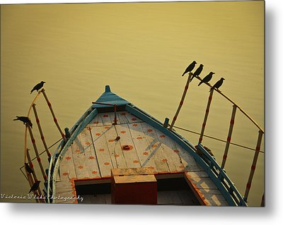 Occupied Boat On Ganges Metal Print by Www.victoriawlaka.com