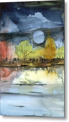 October Moon Metal Print by Mindy Newman