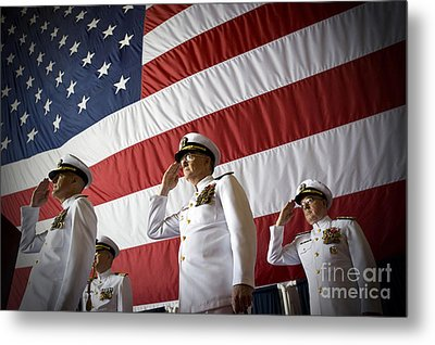Officers Render Honors During A Change Metal Print by Stocktrek Images