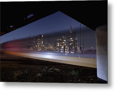 Oil Refinery And Train Blur Metal Print by Mike Raabe