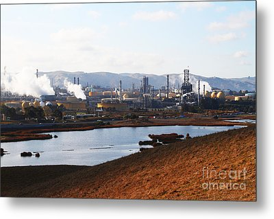 Oil Refinery Industrial Plant In Martinez California . 7d10393 Metal Print by Wingsdomain Art and Photography