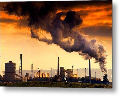 Oil Refinery Metal Print by John Short
