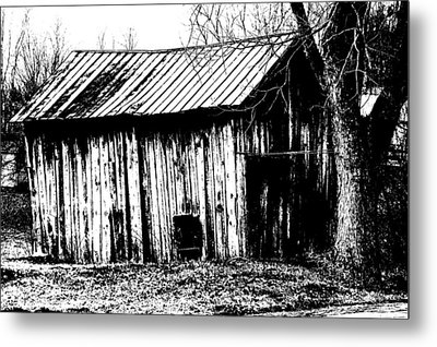 Old Barn In Black And White Metal Print by Ronald T Williams
