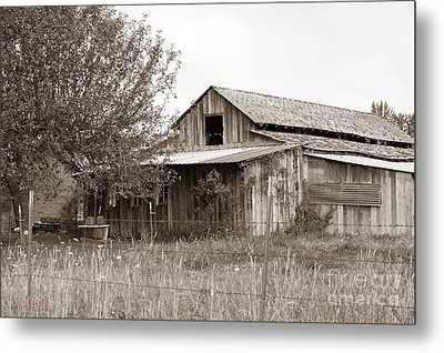 Old Barn In Sepia  Metal Print by Connie Fox