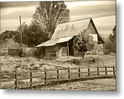 Old Barn Sepia Tint Metal Print by Susan Leggett