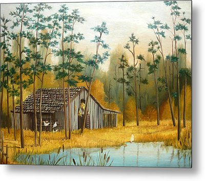 Old Barn With Chickens Metal Print by Vivian Eagleson