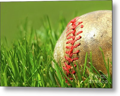 Old Baseball Glove On The Grass Metal Print by Sandra Cunningham