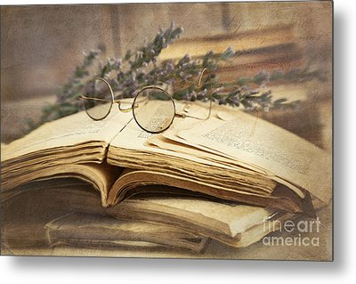 Old Books Open On Wooden Table  Metal Print by Sandra Cunningham