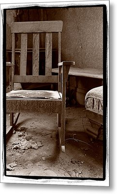 Old Chair Bodie California Metal Print by Steve Gadomski