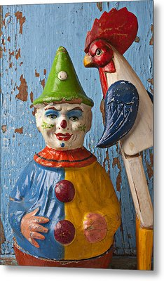 Old Clown And Roster Metal Print by Garry Gay