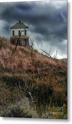 Old Farmhouse With Stormy Sky Metal Print by Jill Battaglia