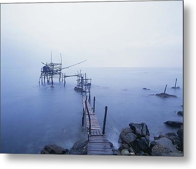 Old Fishing Platform At Dusk Metal Print by Axiom Photographic