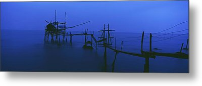 Old Fishing Platform Over Water At Dusk Metal Print by Axiom Photographic